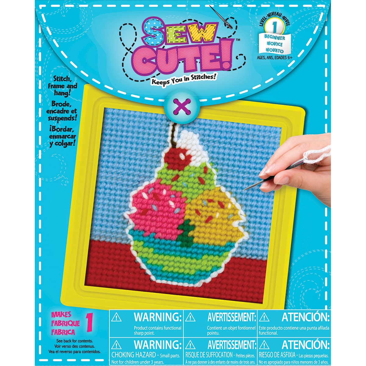 "Colorbok Ice Cream Learn To Sew Needlepoint Kit-6""X6"" Stitched In Yarn"