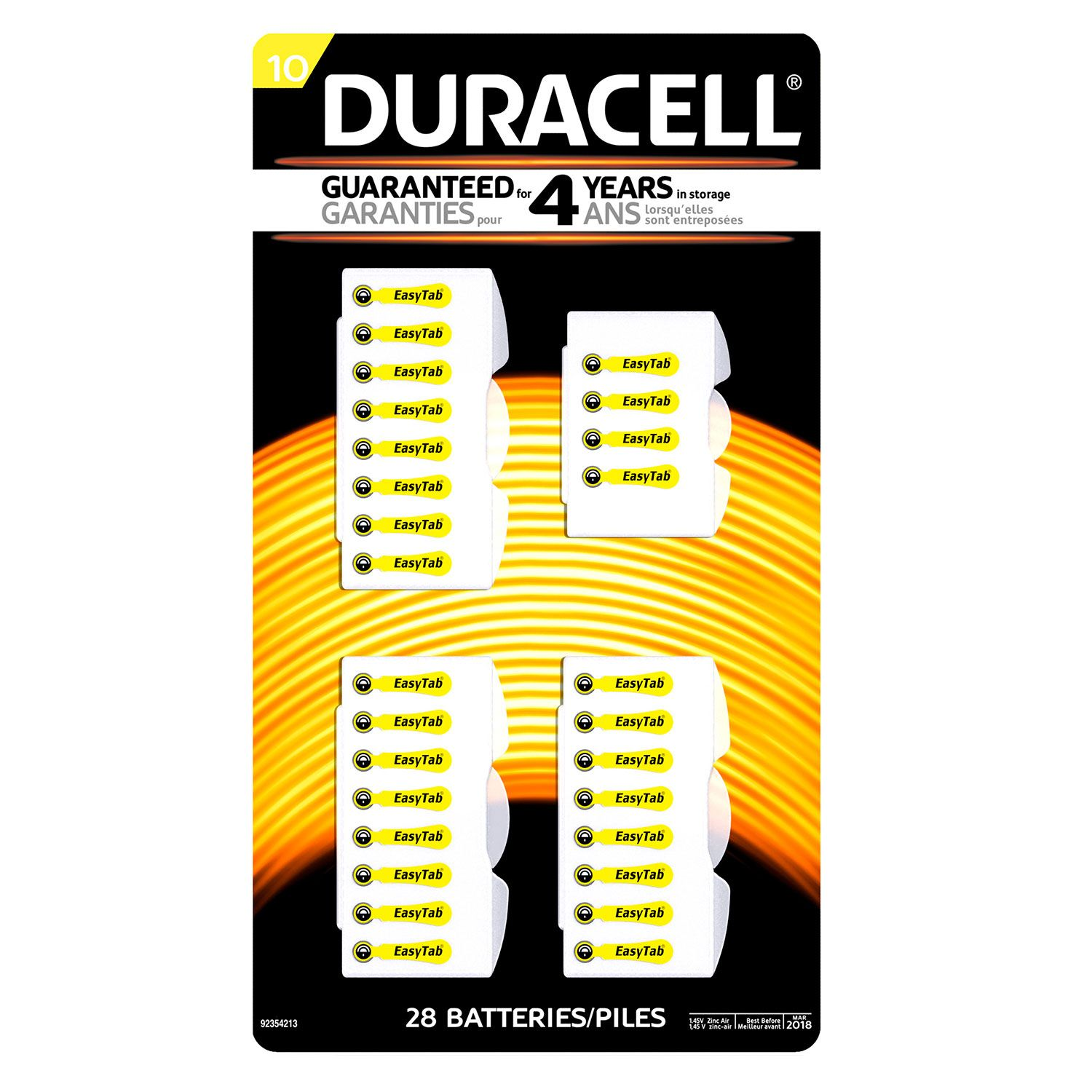 Duracell Hearing Aid Size #10 Batteries 28ct.