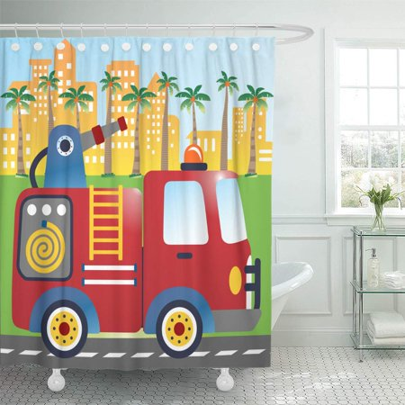 Yusdecor Red Fire Truck Stand By In The