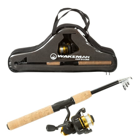 Fishing Pole – Telescopic 5.5-Foot Carbon Fiber and Cork Rod and Ambidextrous Reel Combo with Carry Case for Lake, Pond or River by Wakeman