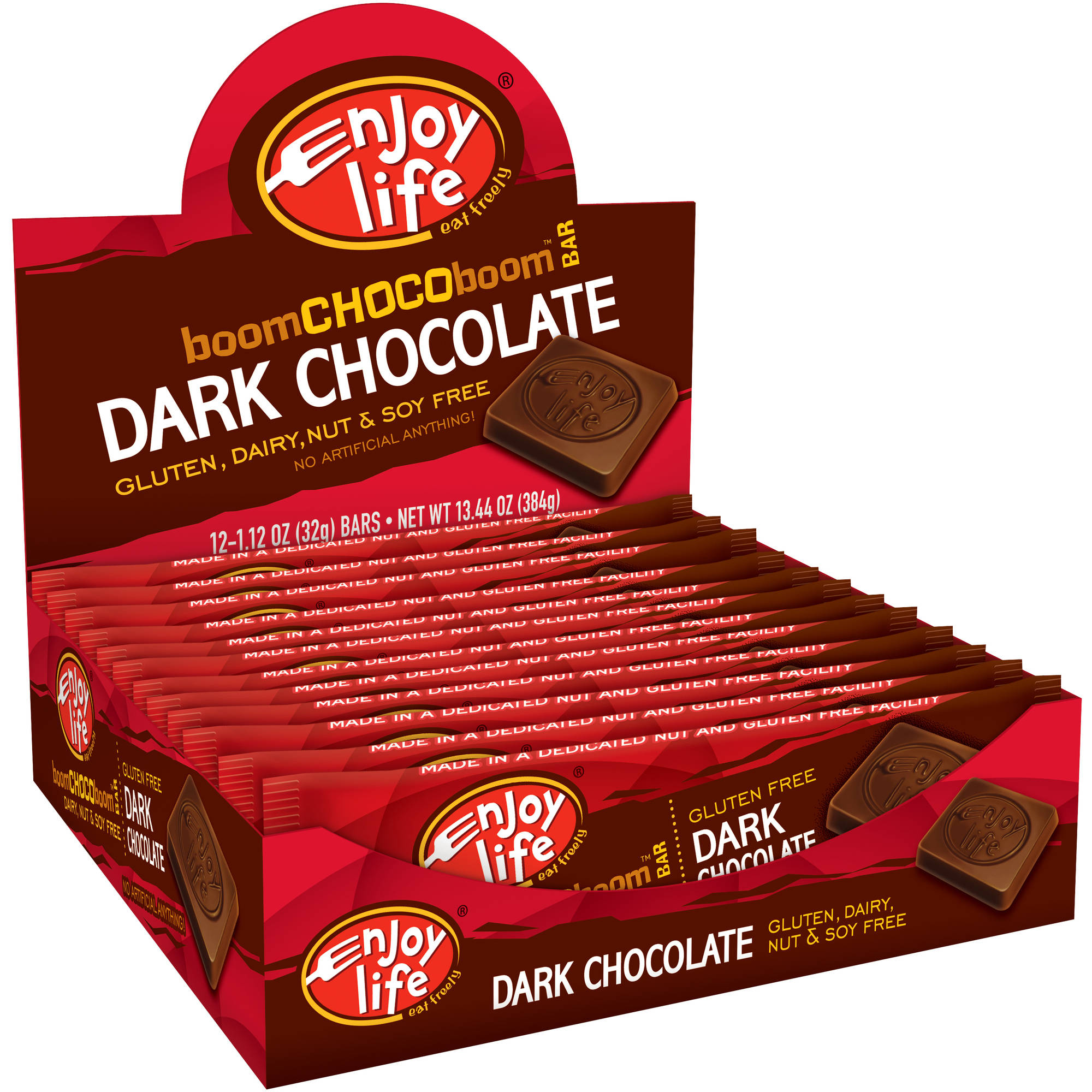 Enjoy Life Dark Chocolate boomCHOCOboom Bars, 1.12 oz (Pack of 24)