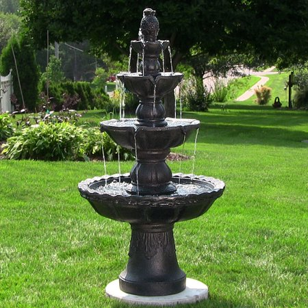 Black Pearl Medium Point Fountain (Sunnydaze 4-Tiered Pineapple Outdoor Garden Water Fountain, Black, 52 Inch Tall )