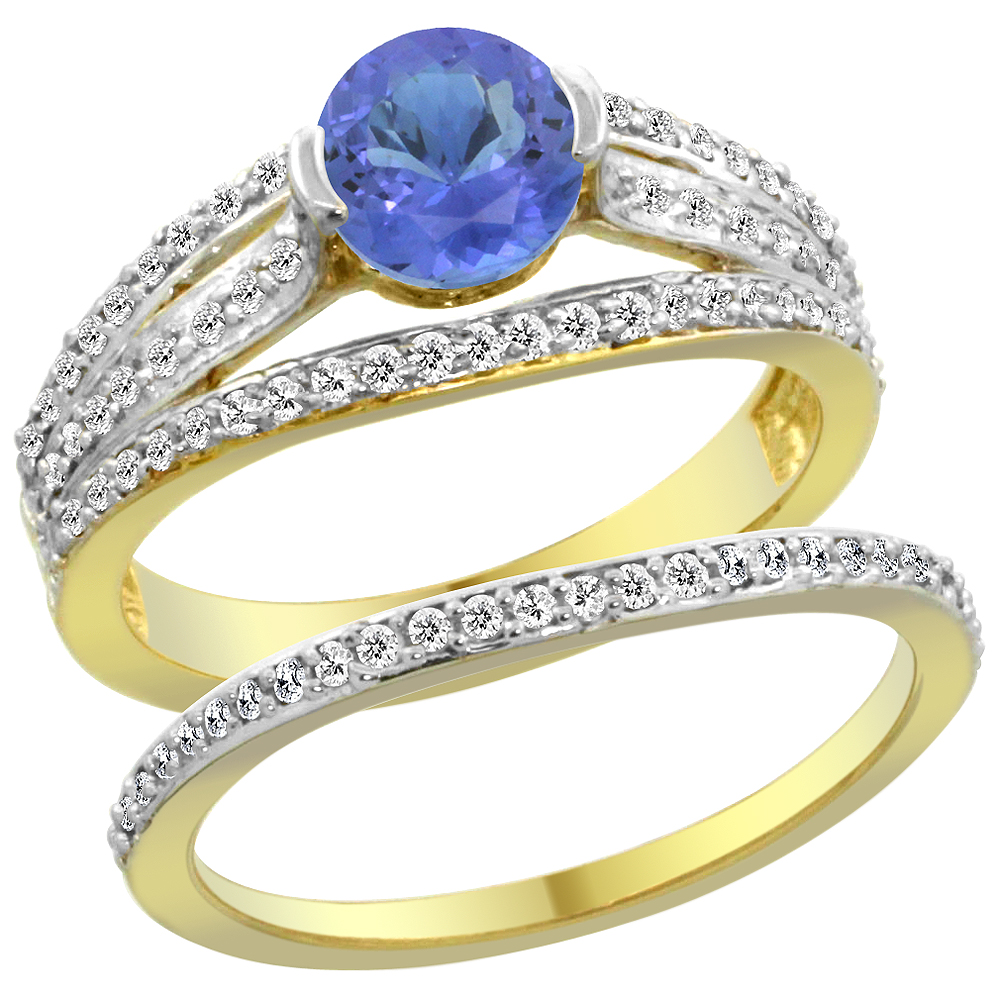 14K Yellow Gold Natural Tanzanite 2-piece Engagement Ring Set Round 6mm, size 5 by Gabriella Gold