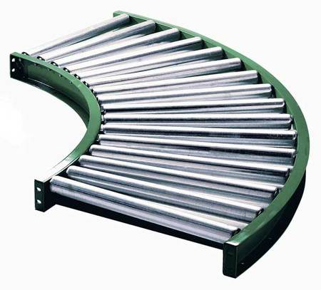 ASHLAND CONVEYOR 2HCR9 Roller Conveyor, 90 Curved, 18-3/4 In
