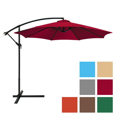 Best Choice Products 10ft Offset Hanging Outdoor Market Patio Umbrella w/ Easy Tilt Adjustment -