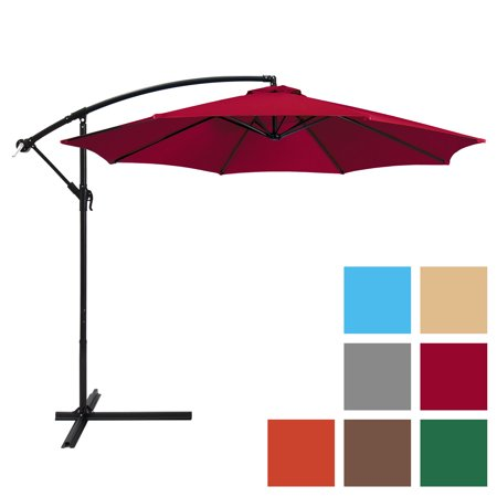 Umbrellas Patio Furniture - Best Choice Products 10ft Offset Hanging Outdoor Market Patio Umbrella w/ Easy Tilt Adjustment - Red