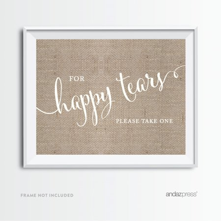 For Happy Tears Tissue Burlap Wedding Party Signs (Happy Tears)