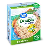 Great Value Double Zipper Sandwich Bags Value Pack, 200 count