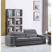 Contemporary Dark Gray Genuine Italian Leather Sofa Global United 692