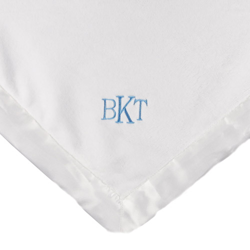Personalized Satin Trim White Baby Blanket, Blue Monogram