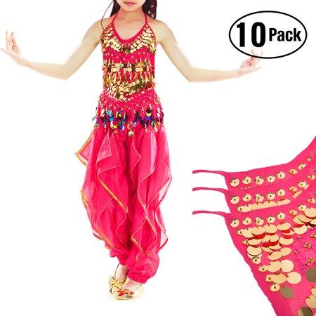 TOPTIE 10 Pack Kids Belly Dance Harem Pants & Halter Top Set, Halloween Costume-Rose Red Set 1-L