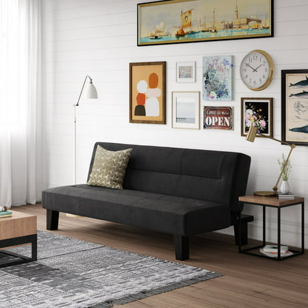 Pleasant Dhp Kebo Futon Couch With Microfiber Cover Black Inzonedesignstudio Interior Chair Design Inzonedesignstudiocom