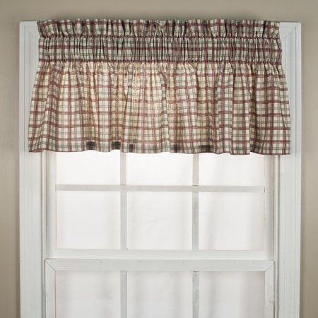 Ellis Curtain Bristol Plaid High Quality Fabric Water Proof Room Darkening Blackout Tailored Window Valance - 70 x 12