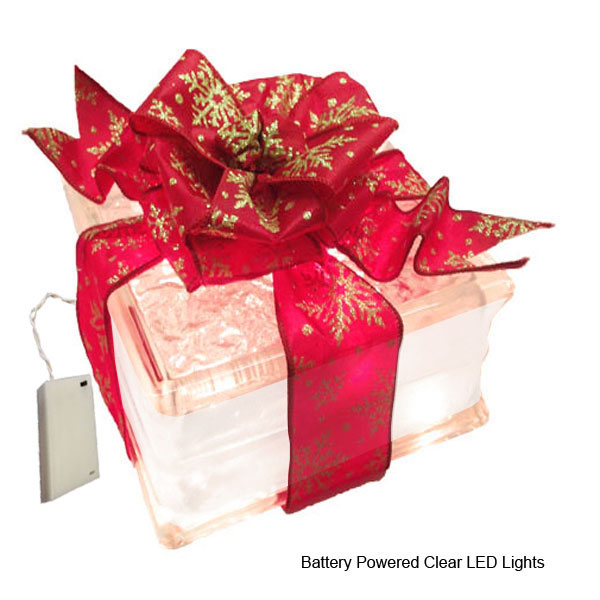 """Battery Powered LED Lighted Glass Block with 4"""" White Bor..."""