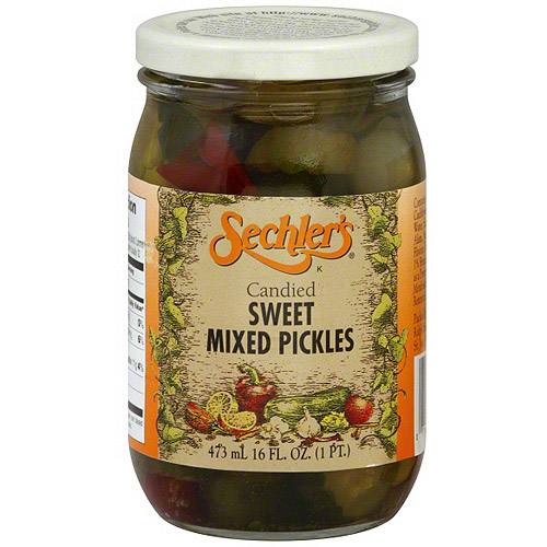Sechler's Candied Sweet Mixed Pickles, 16 oz (Pack of 6)