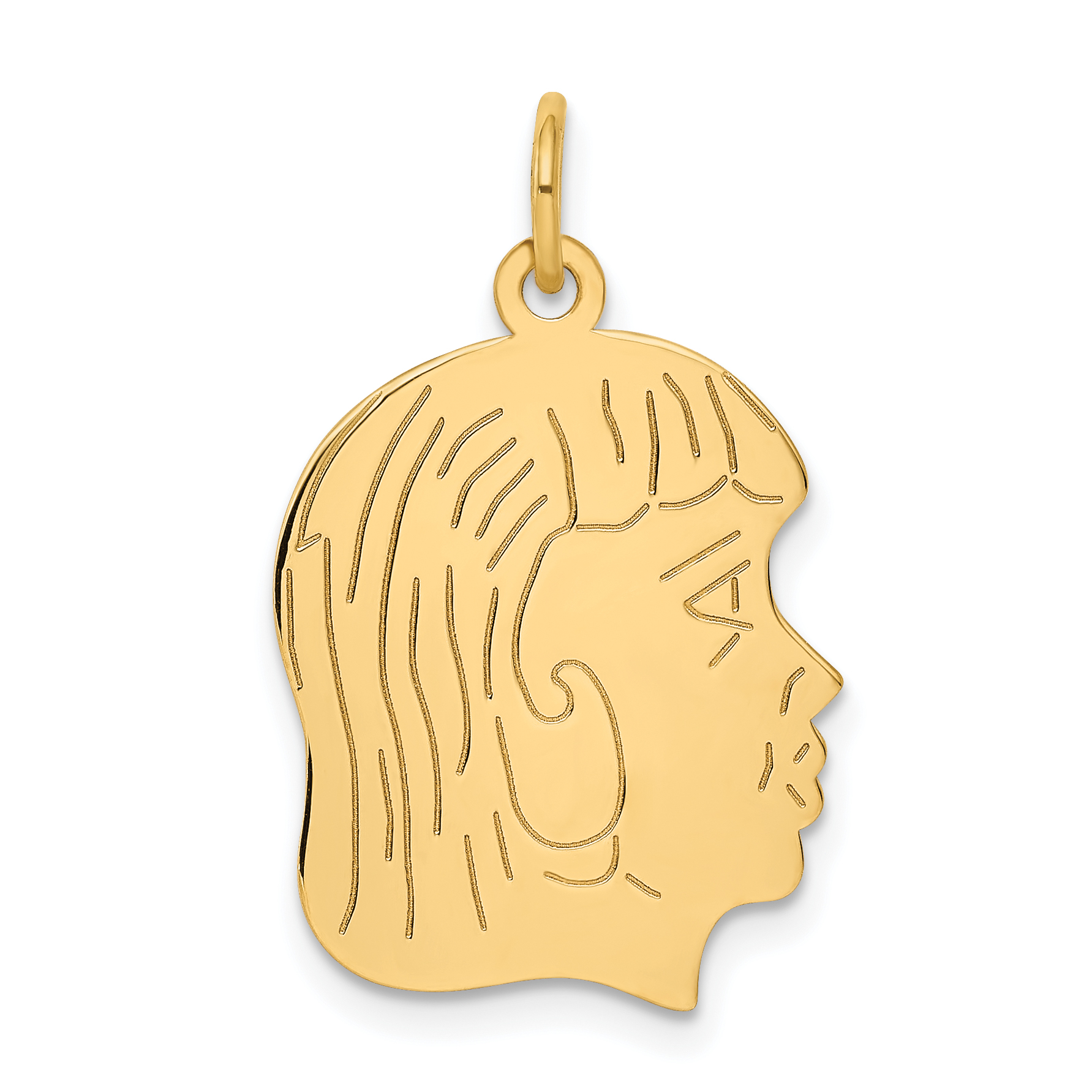 14k Yellow Gold Girl Head Pendant Charm Necklace Engravable Disc Right Facing Boy Pre Engraved Fine Jewelry Gifts For Women For Her - image 2 de 2