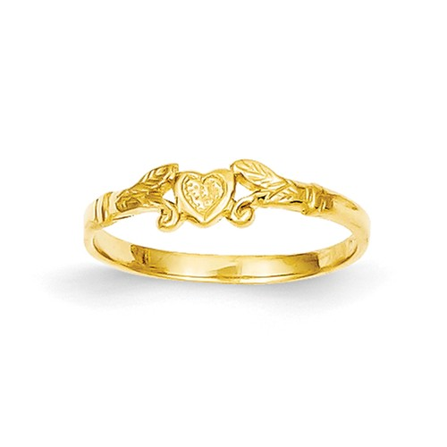 14k Yellow Gold Polished Heart Baby Ring