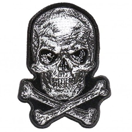 Skull Icon - Iron On Patches - Scratch Skull Embroidered Artwork, Sew On Patch, 3