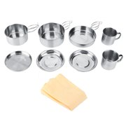 Tbest Camping Tableware,8Pcs Stainless Steel Camping Cookware Picnic Camp Set For Outdoor Hiking Backpacking,Camping Cookware