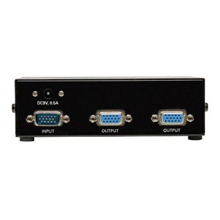 Tripp Lite 2-Port VGA Splitter with Signal Booster High Resolution Video, 350MHz, 2048x1536 (HD15 M/2xF)(B114-002-R)