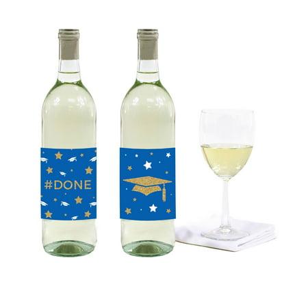 - Royal Blue and Gold Glittering Graduation, Wine or Apple Cider Bottle Labels, 8-Pack