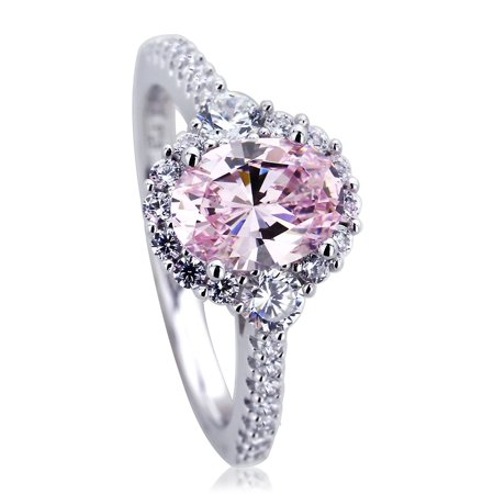 - Men's Platinum Plated Sterling Silver 1.2ct Oval Super Light Pink CZ Halo Ladies Cocktail Ring ( Size 5 to 9 ), 5