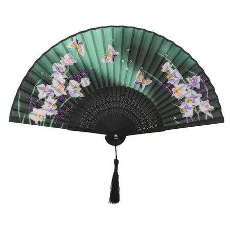 Lady Dancing Bamboo Frame Butterfly Pattern Charming Elegant Vintage Folding Fan