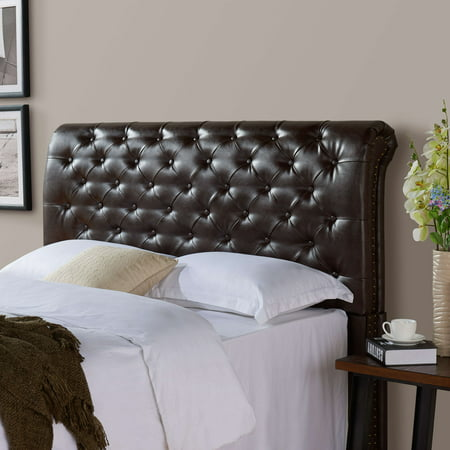 Better Homes & Gardens Rolled Tufted Headboard, Brown Bonded Leather - Walmart.com