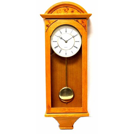 Jack David J&D Best Pendulum Wall Clock, Silent Decorative Wood Clock with Swinging Pendulum, Battery Operated for Living Room, Kitchen, Office & Home Décor (Light Brown-TQWW4133 = 25'' x 8'' x