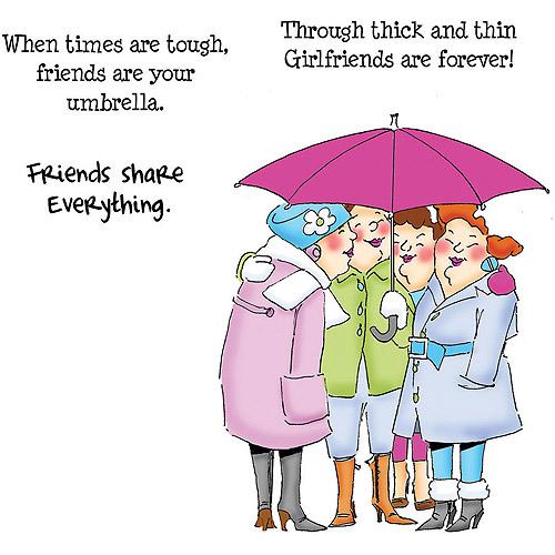 Art Impressions Girlfriends Cling Rubber Stamp, Under My Umbrella Set