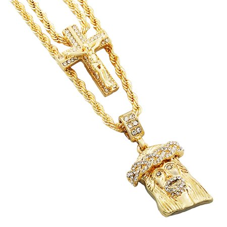 Out Diamond Cross (Gold-Tone Men's Iced Out Hip Hop Bling 2 Piece Pendant Crucifix Cross and Cuban Jesus 4mm Rope Chain Set)