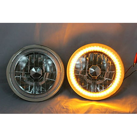 "1971, 1972, 1973, 1974, 1975, 1976, 1977 Pontiac Ventura 7"" H6024 H6014 H6015 Round Semi-Sealed Beam Projector Headlights Black Crystal Amber LED Halo"