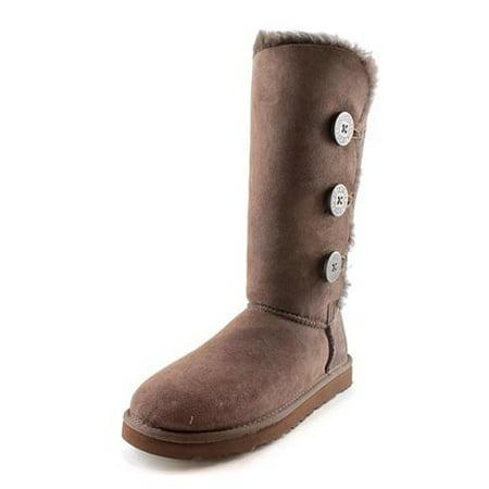 30cef7a3497 UGG Australia Bailey Button Triplet Women's Chocolate Winter Boots 1873  Size 7