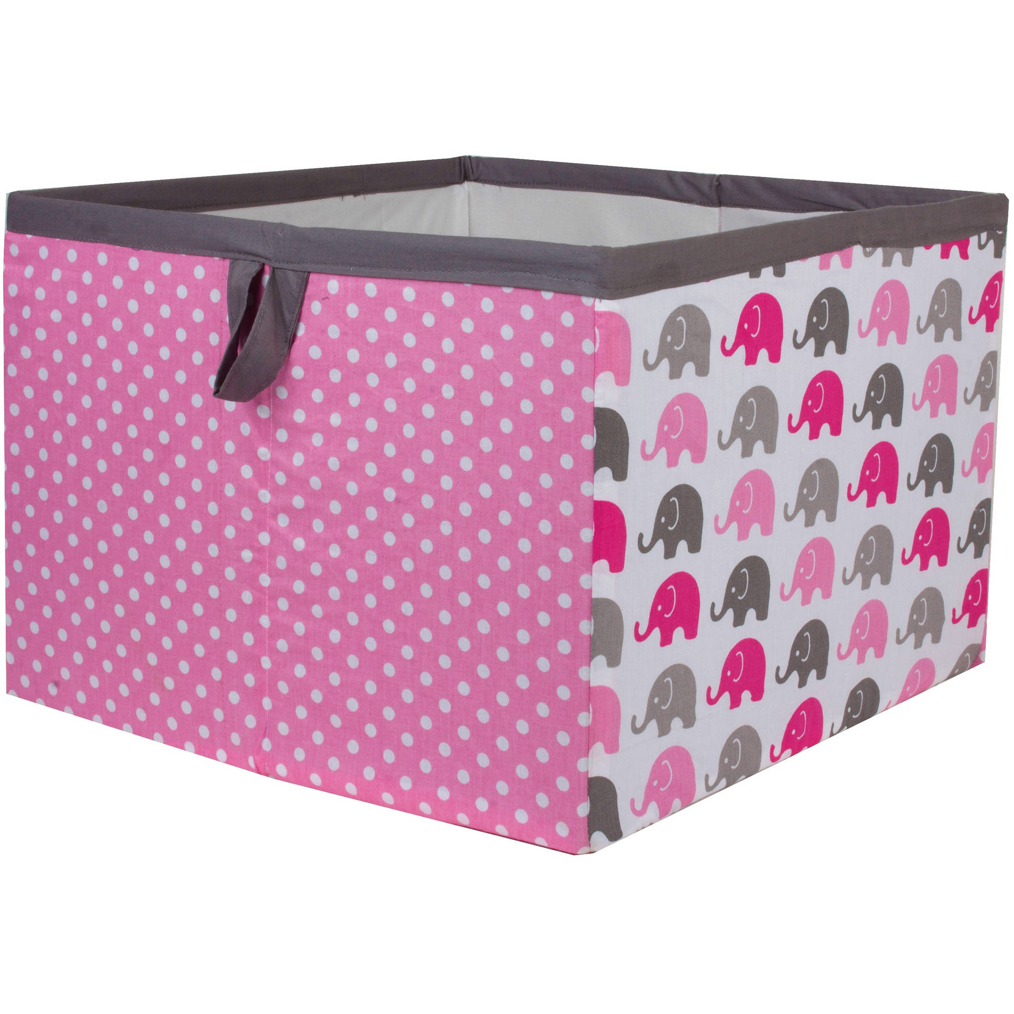Bacati - Elephants Pink/Gray Cotton Percale Fabric covered Storage, Large Box, 14 x 14 x 10 inches