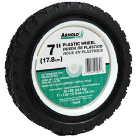 Plastic Wheel with 35 lb. Load Rating - 7-Inch x 1.5-Inch, 7 x 1.50 plastic wheel with diamond tread for use on walk-behind mowers. By Arnold