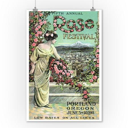 Portland, Oregon - Fifth Annual Rose Festival - Vintage Advertisement (9x12 Art Print, Wall Decor Travel Poster)