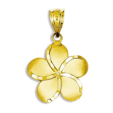 (14K Yellow Gold Polished Plumeria Charm Pendant - 15mm)