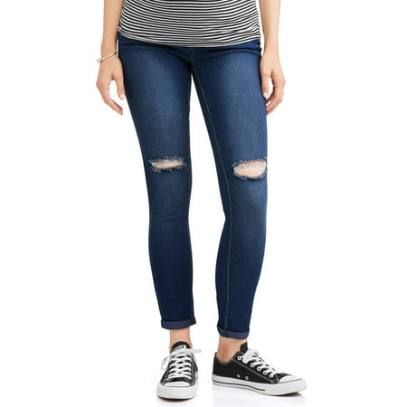 (Maternity Embroidered Back Pockets Distressed Skinny Jeans - Available in Plus Sizes)