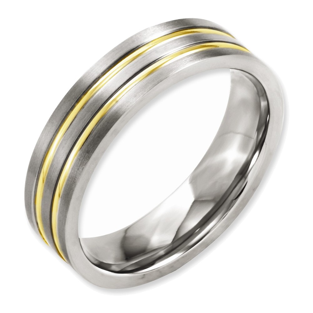 Titanium Grooved Yellow IP-plated 6mm Brushed & Polished Band Size 11.5