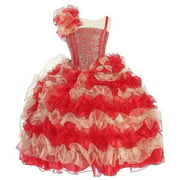 Girls Red Gold One Shoulder Ruffle Pageant Dress 8-12
