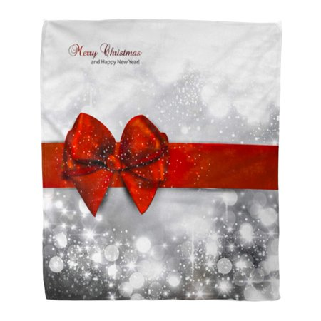 ASHLEIGH Flannel Throw Blanket Gray Silver Window Elegant Christmas Snowflakes and Place Red Soft for Bed Sofa and Couch 50x60 Inches