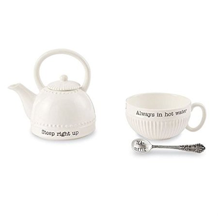 Mud Pie 4301011 Mini Teapot Set, One Size, (White Tea Set)