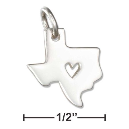 STERLING SILVER TEXAS STATE SILHOUETTE CHARM WITH HEART CUT OUT