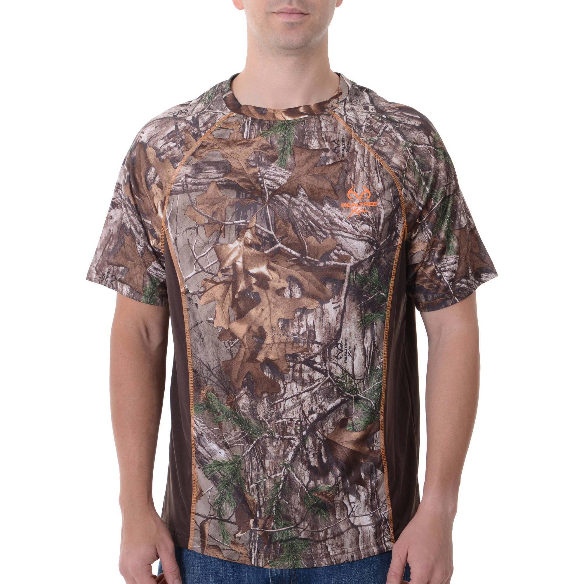 Men's Realtree & Mossy Oak Camo Short Sleeve Colorblock Performance Tee