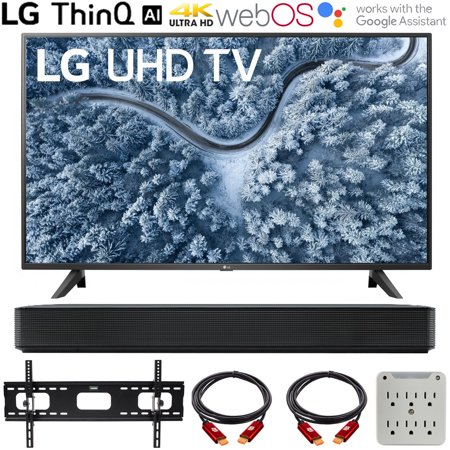 LG UP7000PUA 43 inch Series 4K Smart UHD TV (2021) Bundle with LG SK1 2.0-Channel Compact Sound Bar with Bluetooth, 37-70 inch TV Wall Mount Bracket Bundle and 6-Outlet Surge Adapter