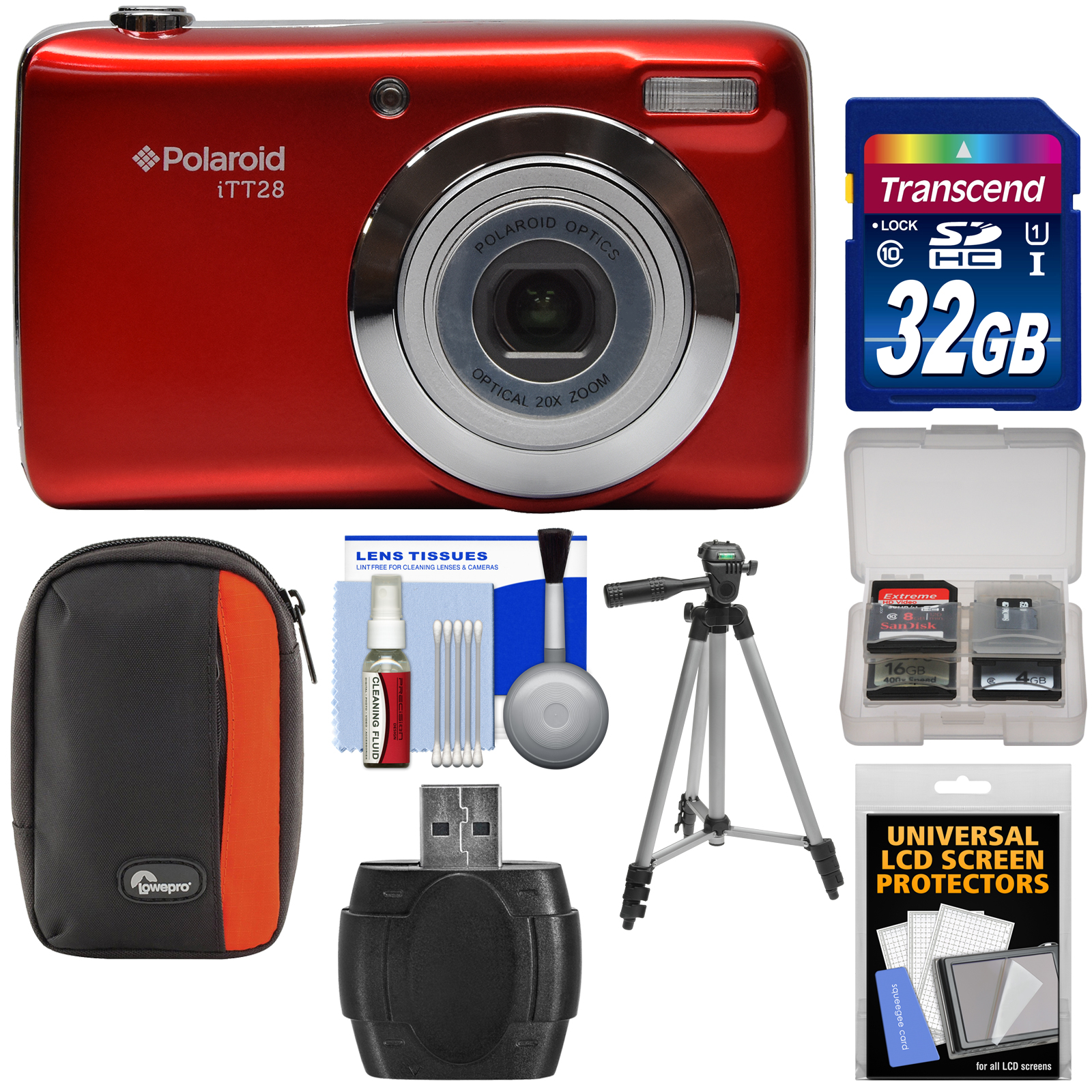 Polaroid iTT28 20MP 20x Zoom Digital Camera (Red) with 32GB Card + Case + Tripod + Kit by Polaroid