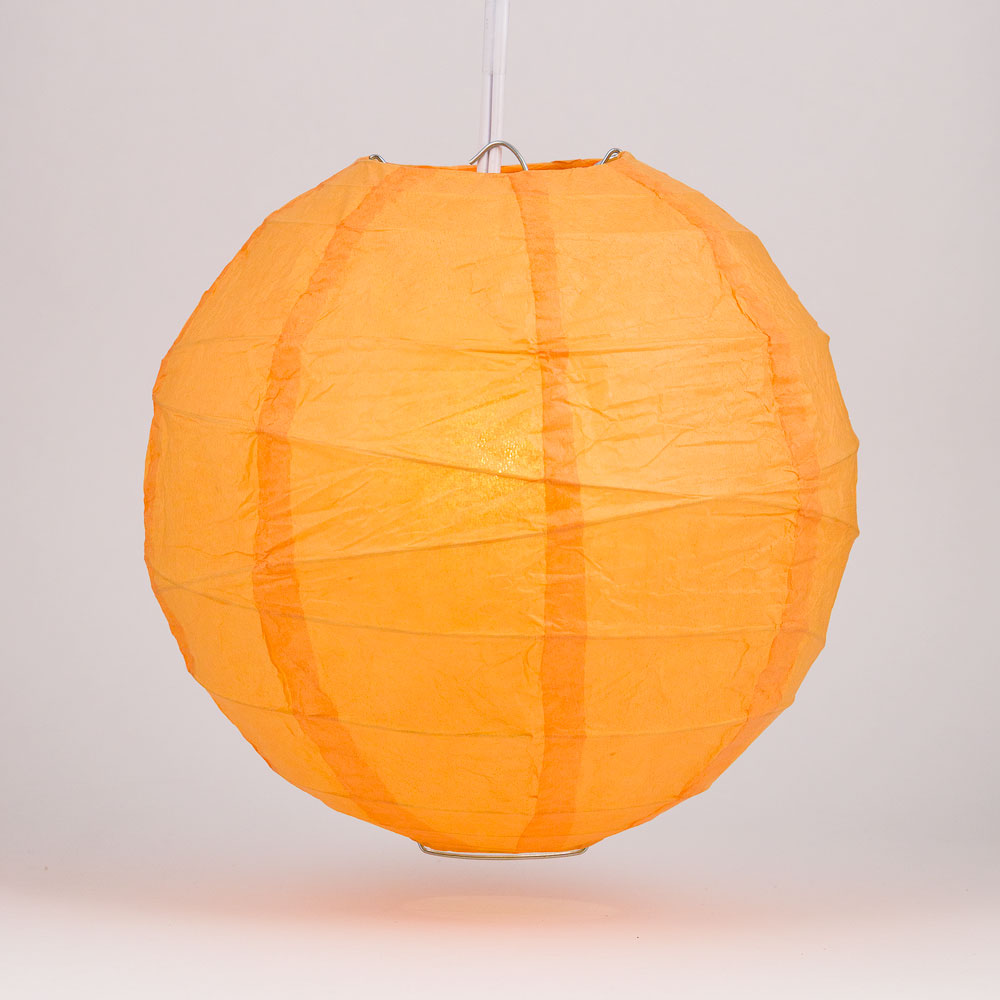 "Quasimoon 16"" Orange Round Paper Lantern, Crisscross Ribbing, Hanging Decoration by PaperLanternStore"