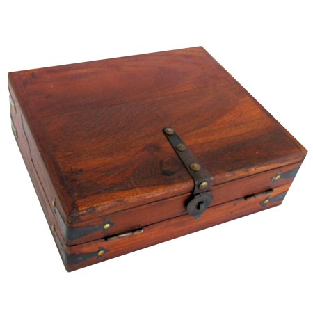 Vintage Antique Wood Folding Portable Travel Writing Lap Desk Document Box