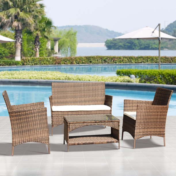 Patio Furniture Sets On Sale 4 Piece Wicker Patio Conversation Furniture Set W Loveseat Seats 2 Armchair Sofas Coffee Dining Table And Padded Cushions For Porch Poolside Backyard Garden S1858 Walmart Com Walmart Com