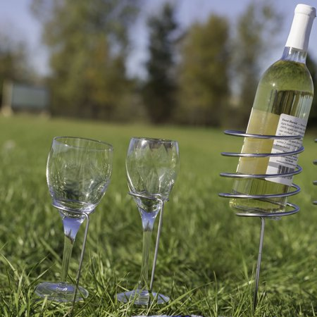 Sunnydaze Outdoor Wine Bottle and Glass Holder, Stainless Steel, Perfect for Picnic or Beach, 3 Piece -